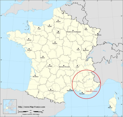 Map of France showing Provence
