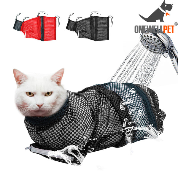 Mesh Cat Grooming Bath Bag