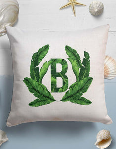 Custom Monogram Banana Leaves Throw Pillow