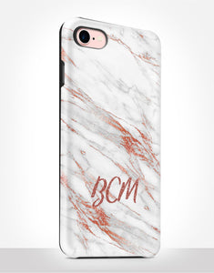 Custom Name Rose Gold Marble Tough Case