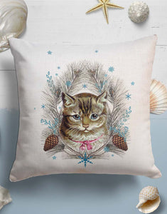 Christmas Cat Throw Pillow