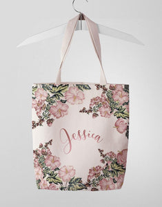 Custom Name Pink Floral Tote Bag