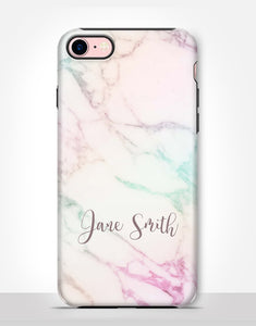 Custom Name Colourful Marble Tough Case