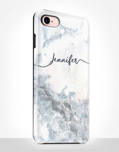 Custom Name Blue Marble Tough Case