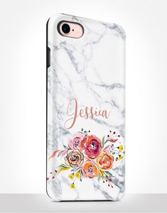Custom Name Floral Marble Tough Case