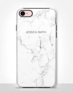 Custom Name White Marble Tough Case