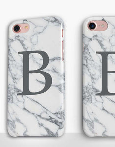 Custom Monogram Grey Marble Classic Case