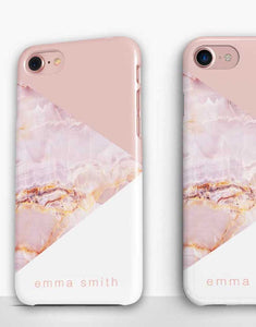 Custom Name PInk Marble Mix Classic Case