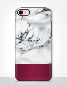 Burgundy White Marble Tough Case