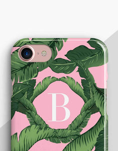 Pink Monogram Banana Leaves Classic Case