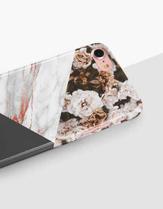 Custom Name Floral Bronze Marble Mix Classic Case