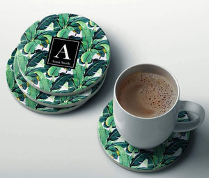 Custom Name Banana Leaves Coaster