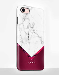 Custom Name Burgundy Marble Tough Case