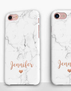 Custom Name Heart Marble Classic Case