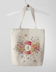Custom Monogram Floral Tote Bag