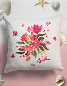 Custom Name Pink Floral Throw Pillow