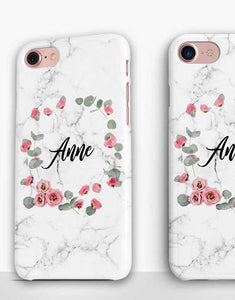Custom Name Floral Marble Classic Case