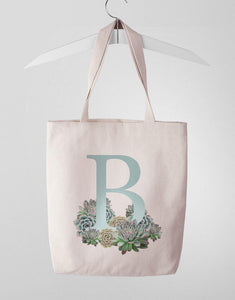 Custom Monogram Succulent Tote Bag