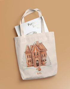 Custom Name Gingerbread House Tote Bag