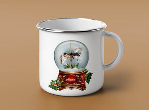 Custom Name Snow Globe Enamel Mug