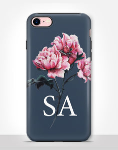 Custom Monogram Pink Rose Tough Case