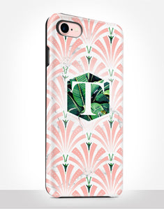 Custom Monogram Art Deco Pink Tropical Tough Case