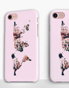 Pink Floral World Map Classic Case