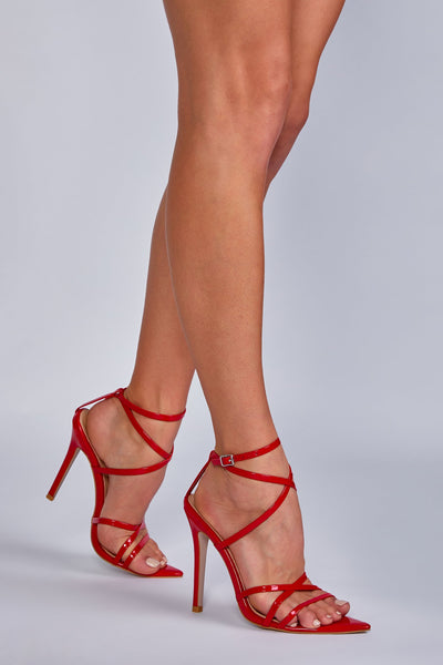 Hailey Patent Multi-Strap Heel - Red - MESHKI