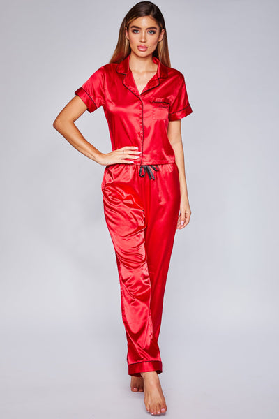 Isabella Satin Pyjama Pants - Red - MESHKI