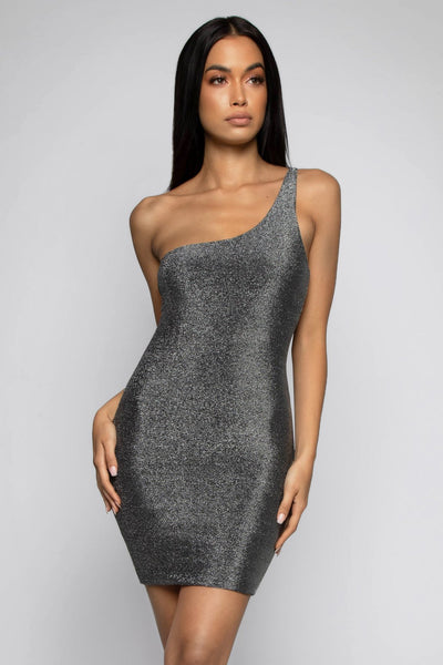 Scarlett One Shoulder Shimmer Mini Dress - Silver - MESHKI