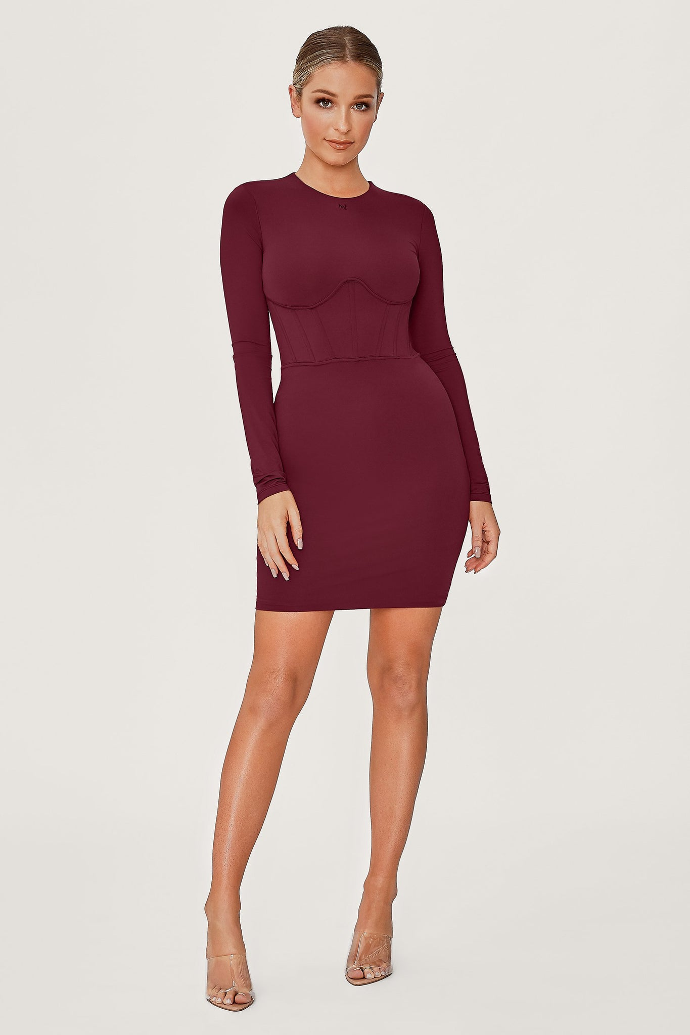 Astrid Long Sleeve Corsetted Waist Mini Dress - Burgundy - MESHKI