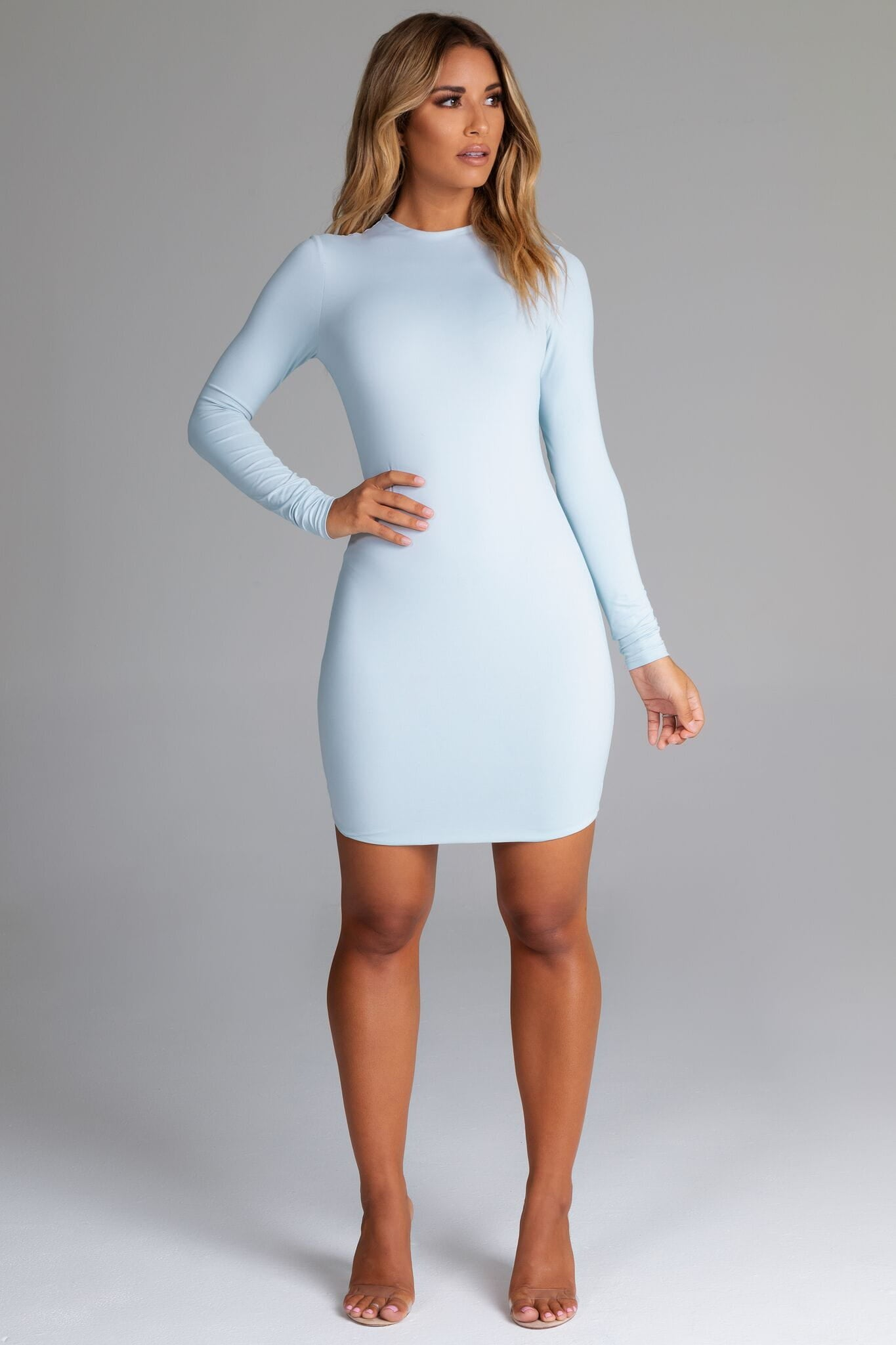 1a72c0d8c2 Kylie Long Sleeve Mini Dress - Baby Blue - MESHKI
