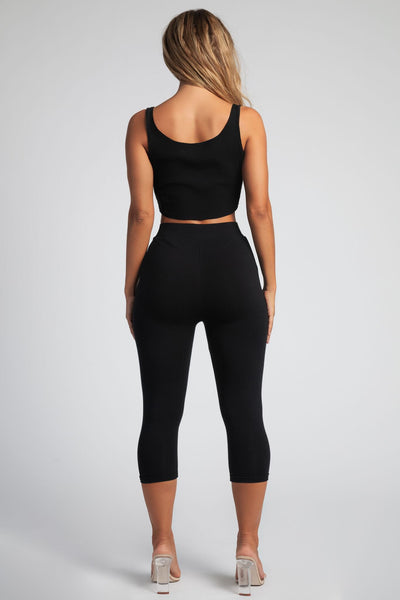 Bella V Neck Ribbed Crop Top - Black - MESHKI