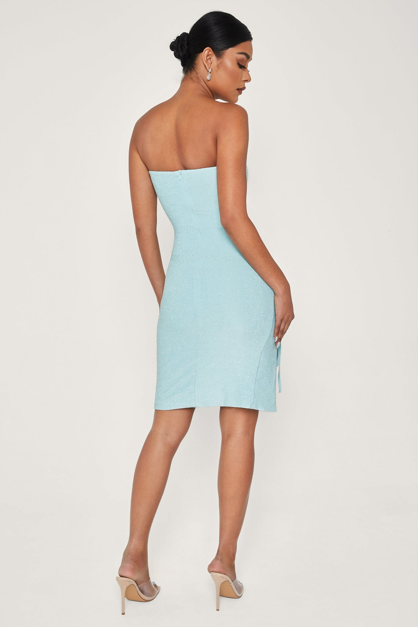 Nellie Ruched Side Shimmer Mini Dress - Turquoise - MESHKI