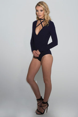 Milla Long Sleeve Cross Strap Bodysuit - Navy