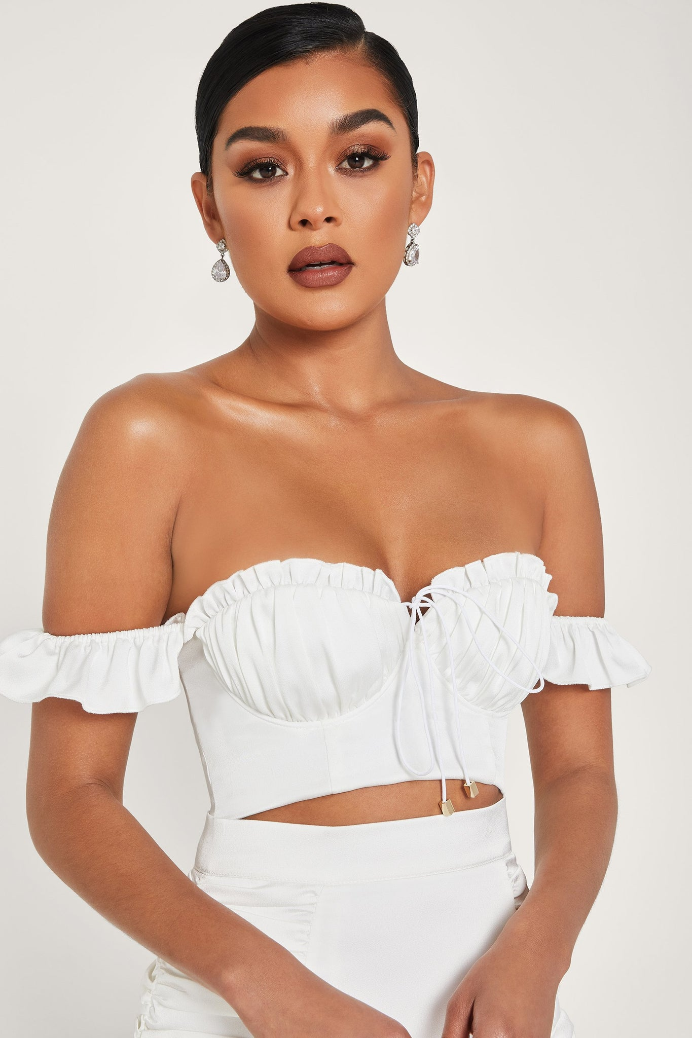 Margie Ruched Cup Bustier Top - White - MESHKI