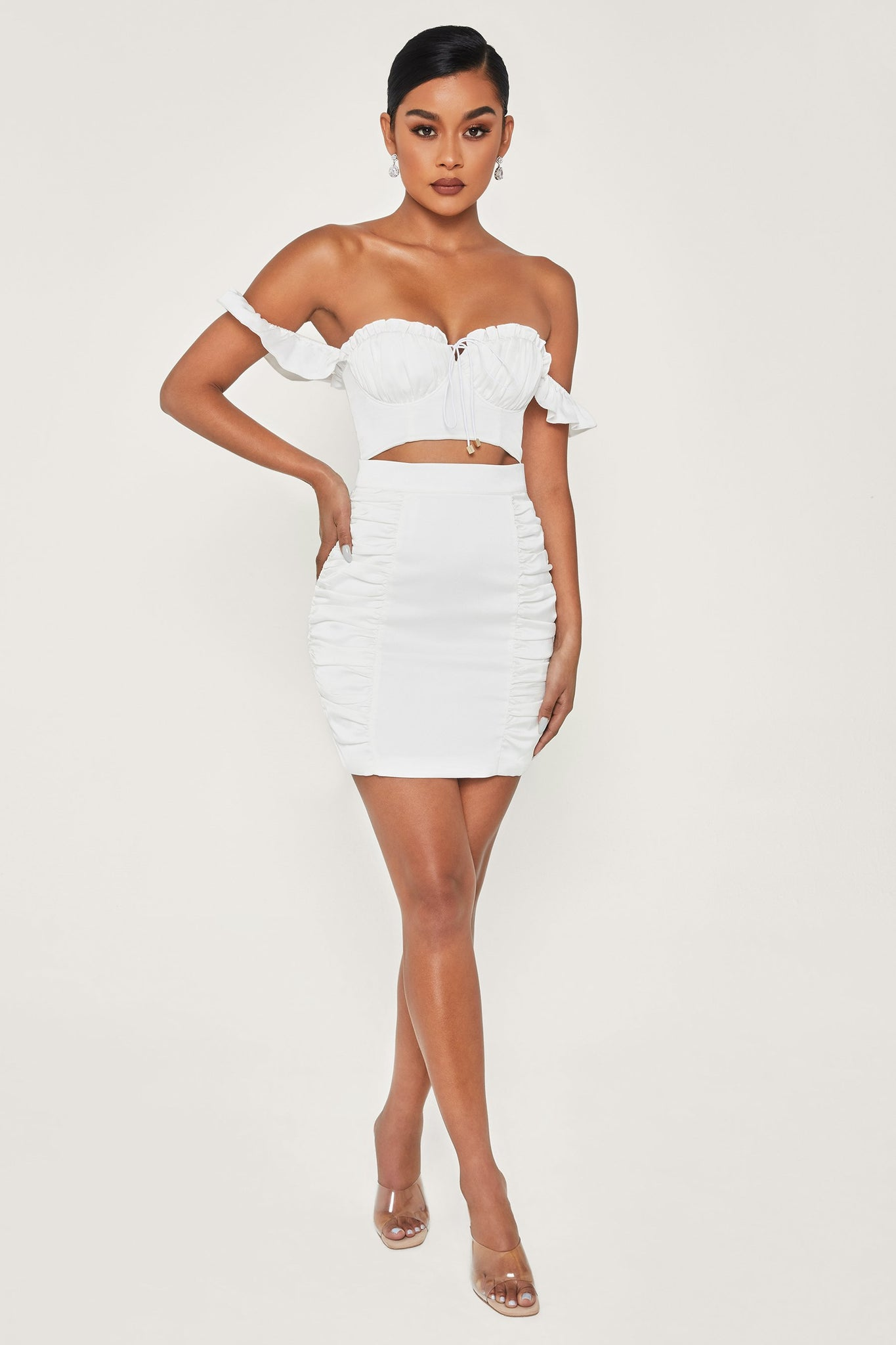 Aggie Ruched Mini Skirt - White - MESHKI