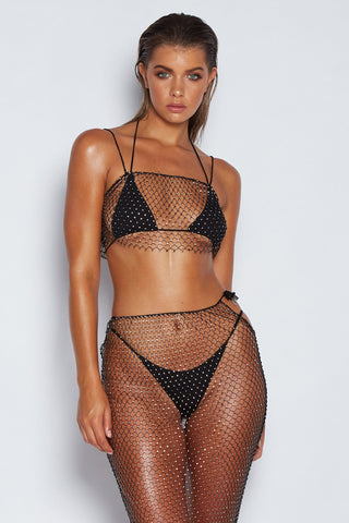 Sandrina Diamante Net Crop - Black - MESHKI