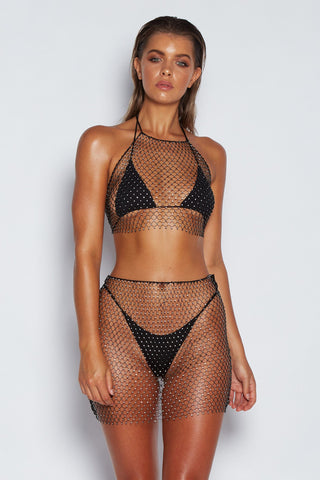 Dara Diamante Net Crop - Black - MESHKI