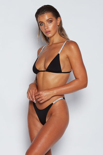 Rumi Diamante Bikini Bottoms - Black - MESHKI