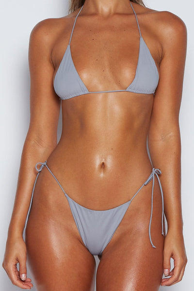 Amalia Tie Up Bikini Top - Grey Blue - MESHKI