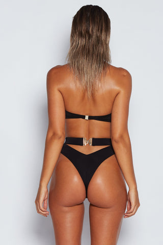 Carliana High Waist Bikini Bottom - Black - MESHKI