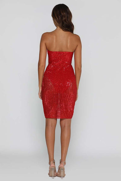 Reina Sequin Midi Dress - Red - MESHKI