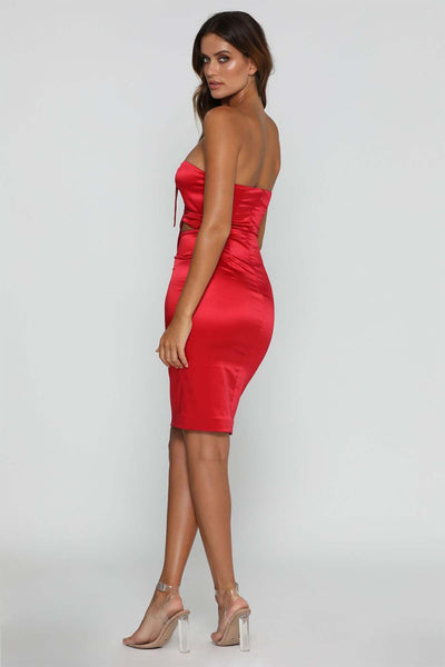 Marissa Tie-Knot Midi Dress - Red - MESHKI