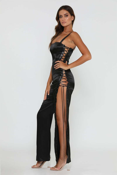 Celina Lace Up Jumpsuit - Black - MESHKI