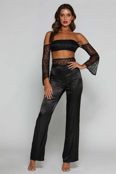Bryanna Lace Pants - Black - MESHKI