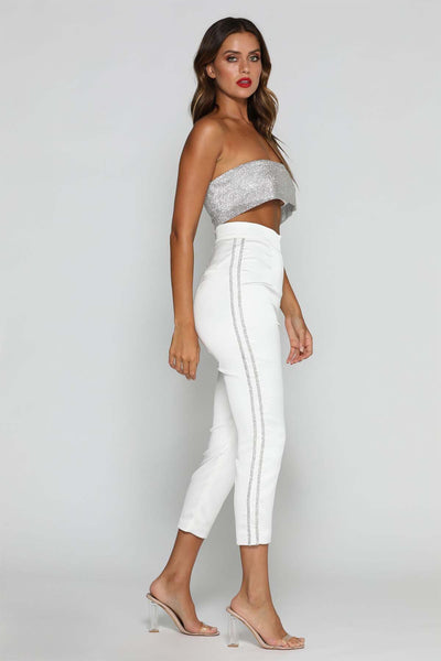 Nella Diamante Trousers - White - MESHKI