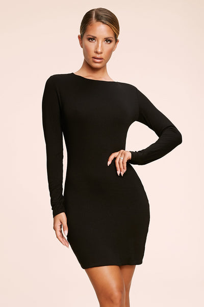 Kennedy Long Sleeve Mini Dress - Black