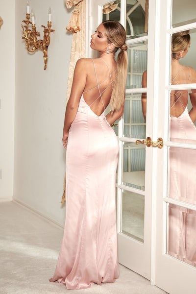 Elizabeth Satin Strappy Back Maxi Dress - Dusty Pink - MESHKI
