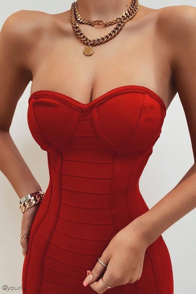 Nevaeh Bandage Bustier Strapless Mini Dress - Red - MESHKI